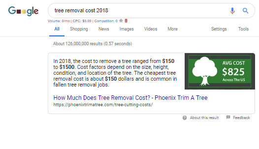 Featured Snippet For Tree Removal Cost